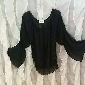 Hippy Love black sheer boho blouse. Large